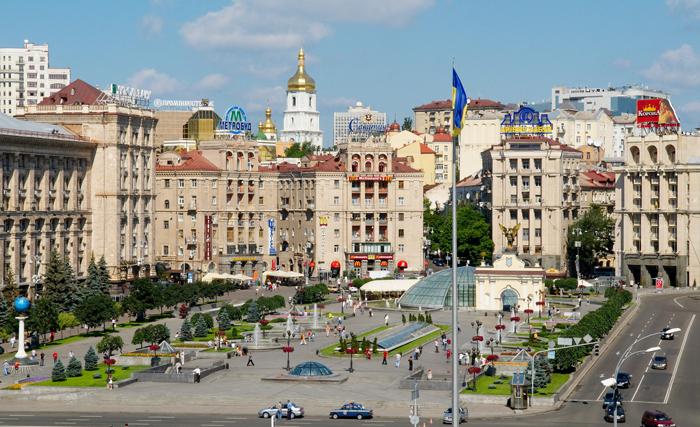 PLaza de la Independencia (en ucraniano, Plaza del Maidán), escenario de numeorar manifestaciones y protetsas a lo largo de los años.