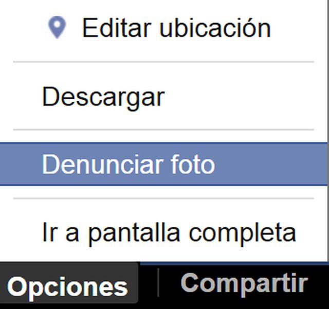 Opciones de fotos en Facebook.