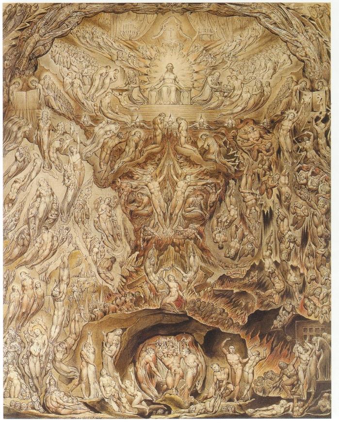 Precursor de Visión. Acuarela representada en la carta enviada a Humphry, por William Blake (DP)