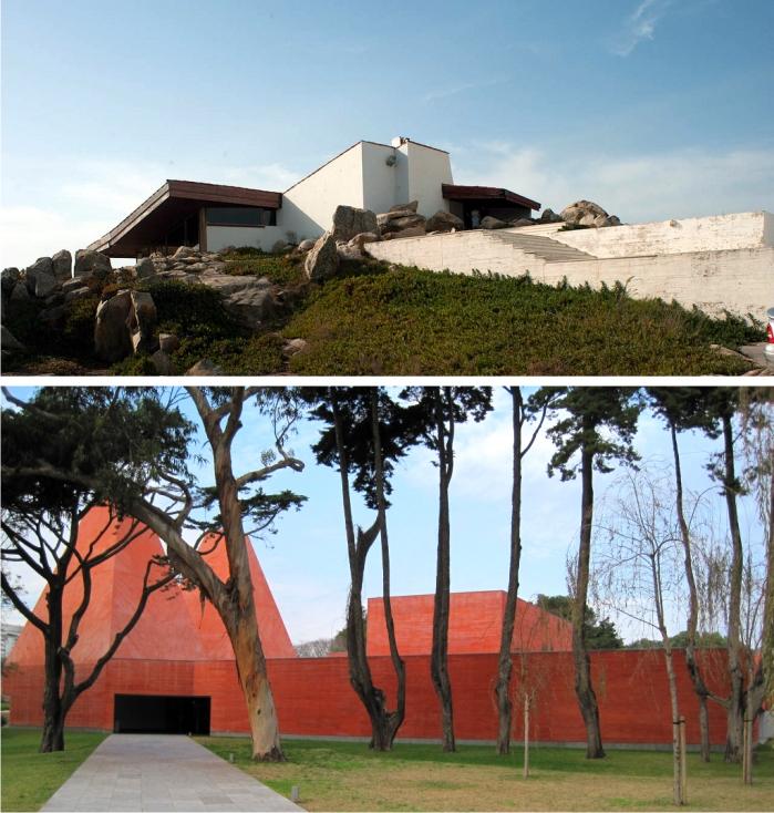 Casa de té Boa Nova, construida en 1963 por Siza y la Casa das Histórias Paula Rego, proyectada por Souto de Moura en 2008. Fotografías: Leon y Bosc d'Anjou (CC)