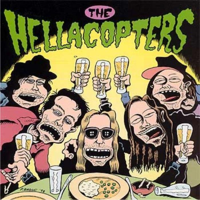 Portada del 7pulgadas de Hellacopters Down Right Blue / Thanks for Nothing (1999) dibujada por Peter Bagge. (Más portadas de discos del autor aquí)