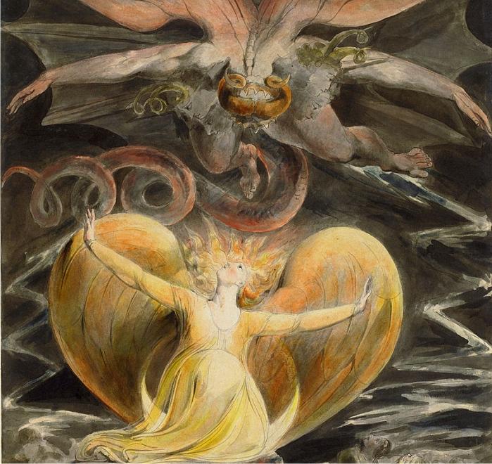 El Gran Dragón Rojo y la Mujer revestida con el Sol. William Blake (DP)