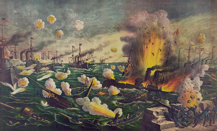 La batalla de Cavite en la bahía de Manila entre España y Estados Unidos 1898. Kurz Allison.