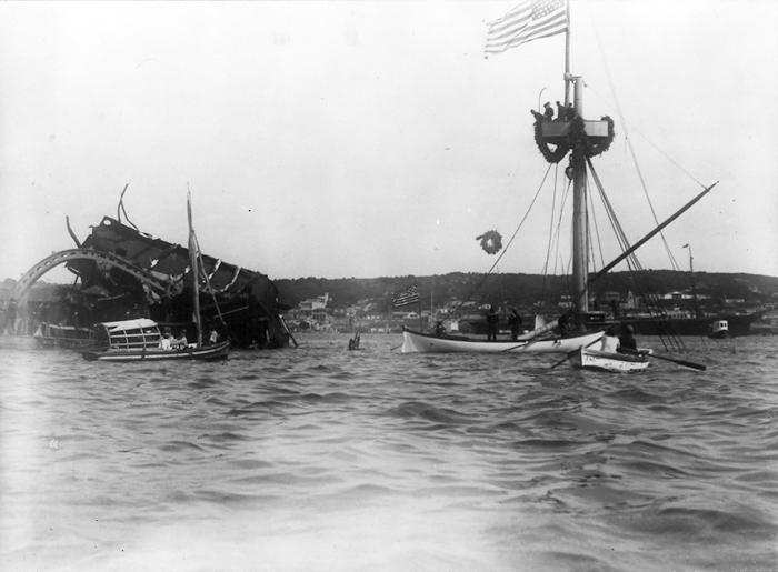 Restos del Maine en La Habana 1898 cuyo hundimiento fue el detonante formal de la guerra