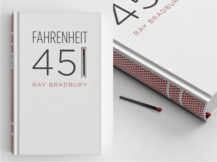 Portada de Fahrenheit 451 diseñada por Elizabeth Perez para The Austin Creative Department.