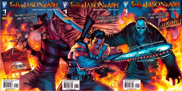 Esto casi pasa, y al final se quedó en un cómic Freddy vs Jason vs Ash. Imagen: Wildstorm.