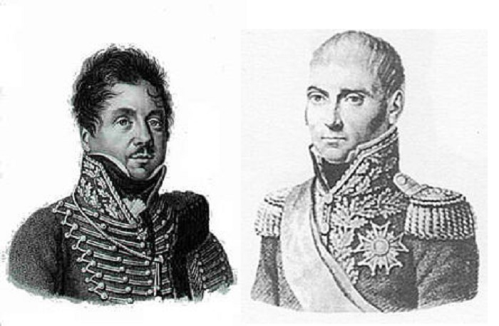 François Fournier-Sarlovèse (izq) y Pierre-Antoine Dupont de l'Étang (dcha). Ilustraciones: Dominio público.