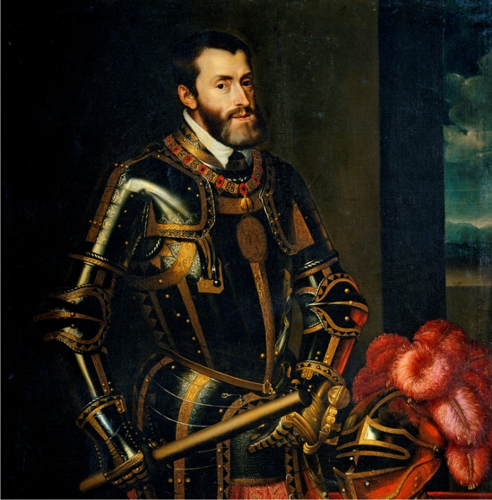 Carlos I de España y V del Sacro Imperio Romano Germánico. Juan Pantoja de la Cruz, copia de un retrato de Tiziano (DP).