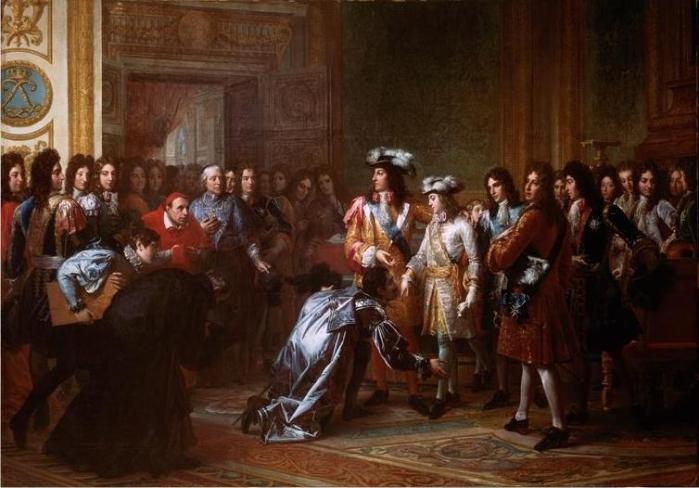 Felipe de Francia, duque de Anjou proclamado rey Felipe V de España en Versalles. Pintura de François Pascal Simon Gérard. (DP)