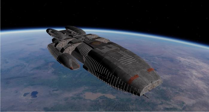 La nave Pegasus, último refugio humano hacia la frontera interestelar. Imagen: ABC.
