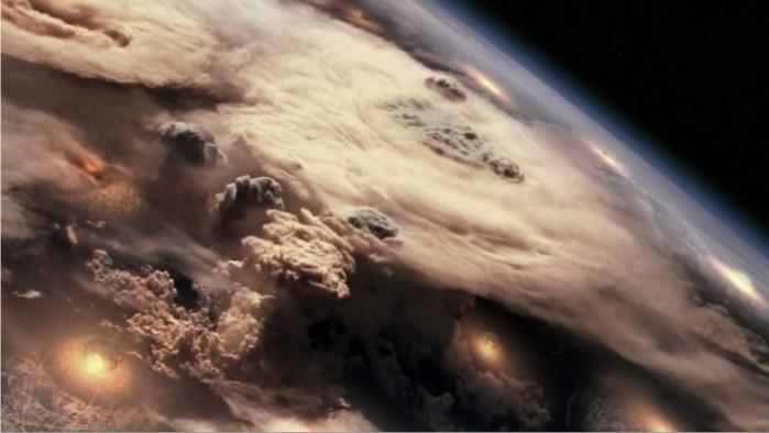 La destrucción total de Caprica las demás colonias por parte de los cylon da lugar a una guerra absoluta. Imagen: ABC.