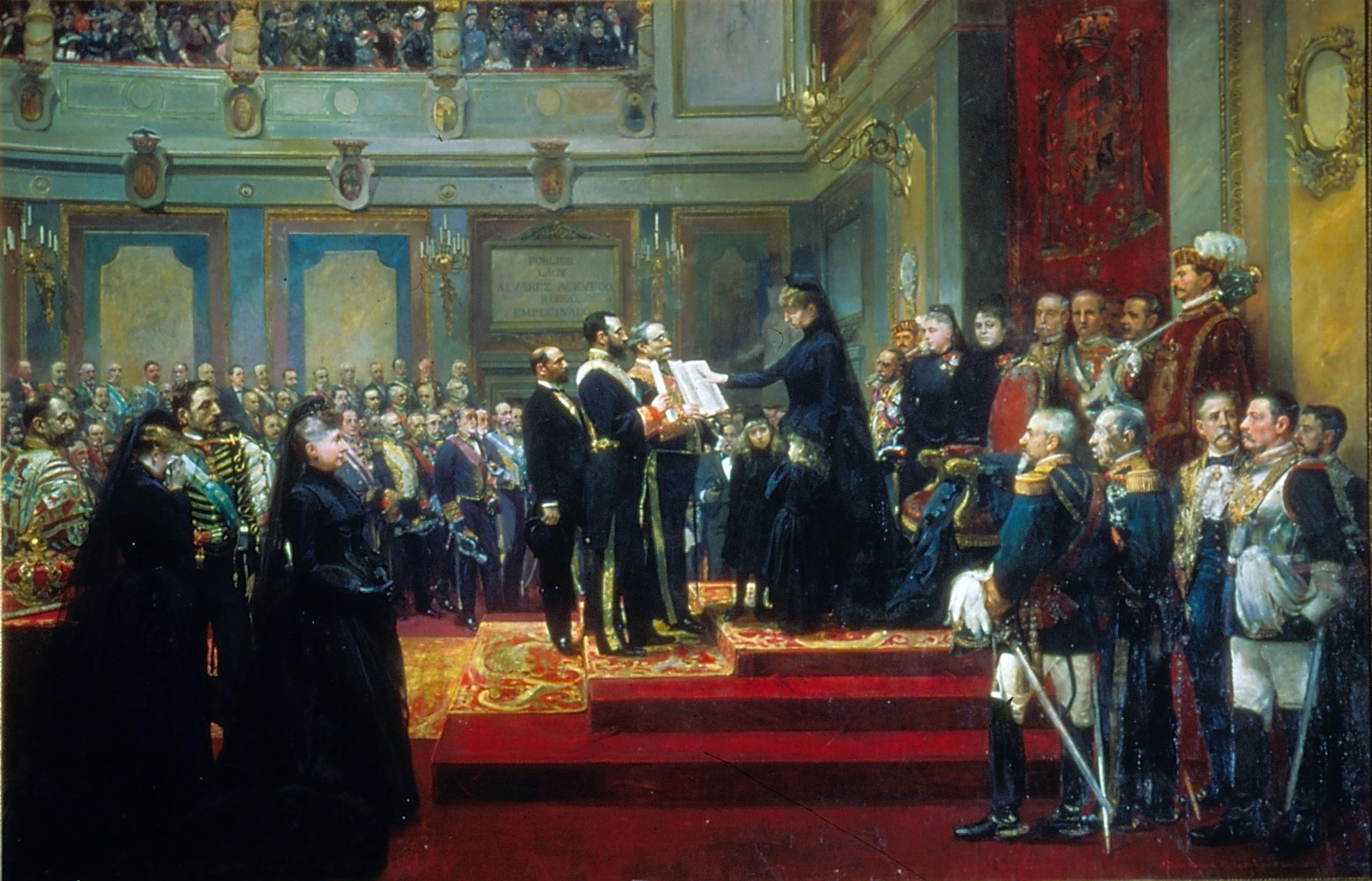 María Cristina jurando la Constitución ante las Cortes. Cuadro:  de Francisco Jover y Casanova y Joaquín Sorolla y Bastida