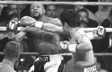 May 2.2015. Las Vegas NV. ( in Gld-blk color trunks) Floyd Mayweather Jr. goes 12 rounds with Manny Pacquiao Saturday at the MGM Grand Hotel. Floyd Mayweather Jr. took the win by  unanimous decision over Manny Pacquiao in Las Vegas..Photo by Gene Blevins/LA Daily News/ZumaPress (Credit Image: © Gene Blevins/ZUMA Wire)