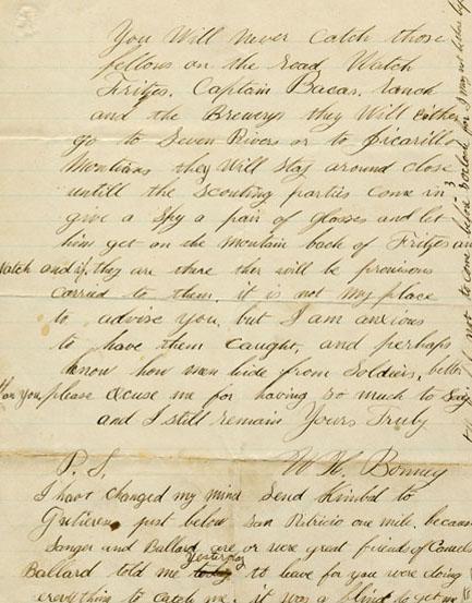 Carta manuscrita de BIlly el Niño: su caligrafía indica que, pese a la tradicional idea popular, BIlly poseía un nivel cultural superior a la media de su entorno. (Foto: DP)