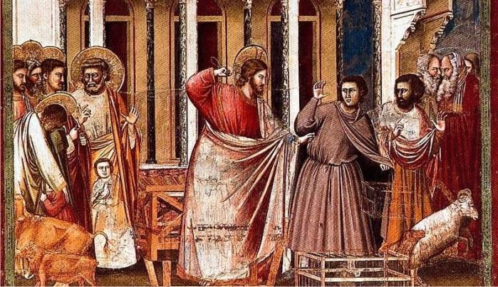 Conocido en internet como «Te meto un meco que te reviento, payaso», este cuadro es un Fresco de Giotto en la Capilla de los Scrovegni, siglo XIV. (DP)