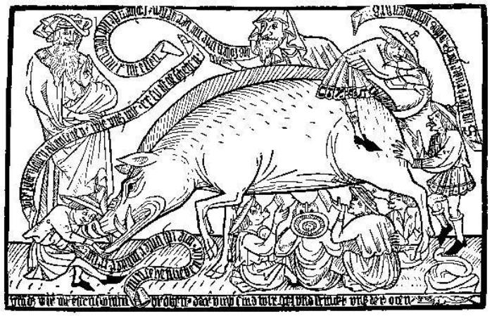 Caricatura medieval que muestra a judíos alimentándose de una cerda. (DP)