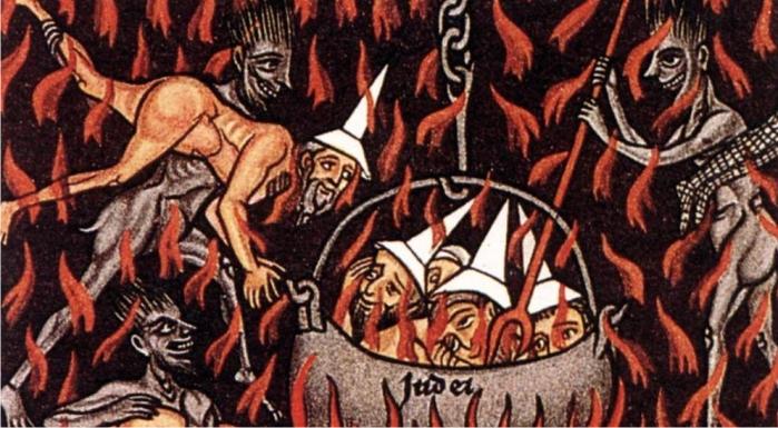 Caricatura medieval en la que los judíos son quemados en un caldero llamado Judea. (DP)