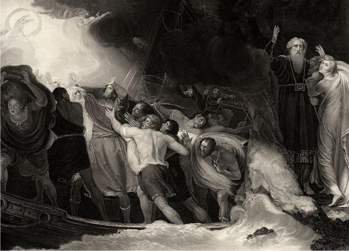 Grabado del acto uno, escena primera, de La tempestad, por Benjamin Smith (DP)