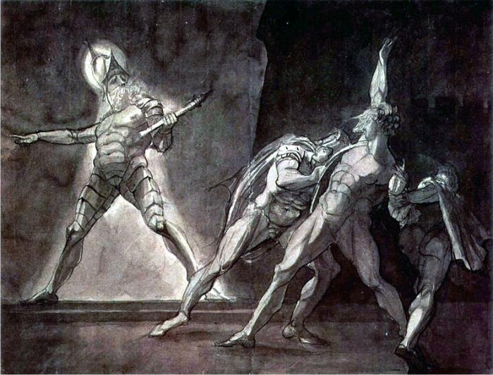 Hamlet y el fantasma de su padre, por Heinrich Füssli (DP)