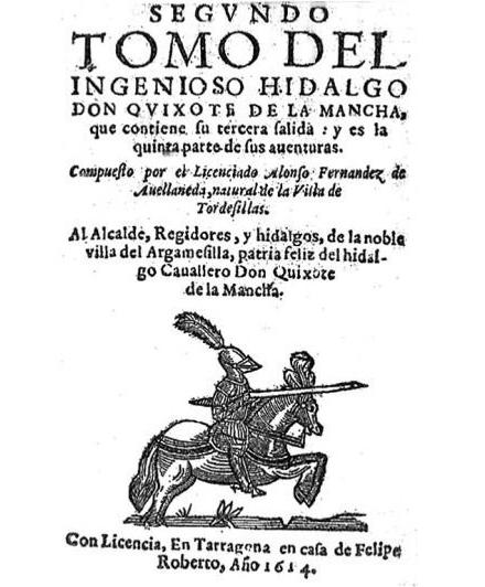 Portada de el Quijote de Avellaneda (DP)