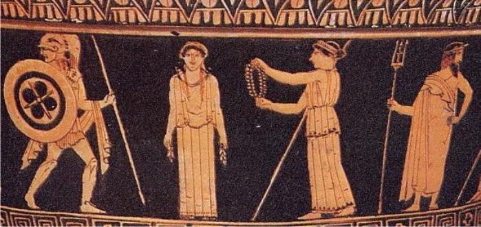 Creación de Pandora: a la izquierda Ares, luego ella, Afrodita y Poseidón. Imagen: DP.