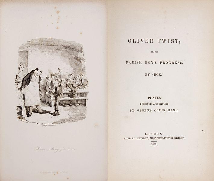 Primera edición de Oliver Twist, de Chares Dickens con ilustración y diseño de George Cruikshank. Imagen: DP