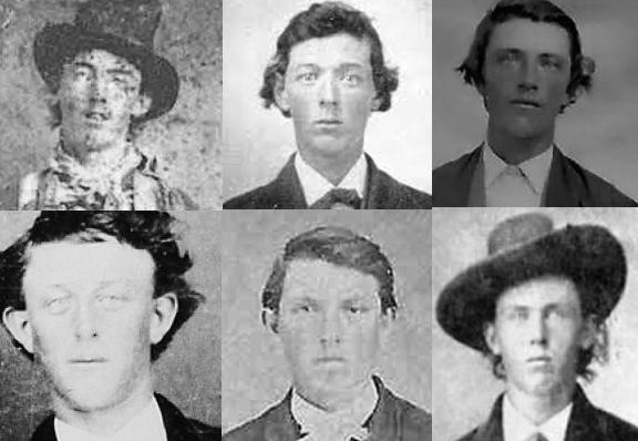 En la esquina superior izquierda, la única fotografía certificada que existe de Billy el Niño. El resto son fotos de la misma época que se han pretendido hacer pasar por suyas, pero sin que exista una constancia clara de que lo son.