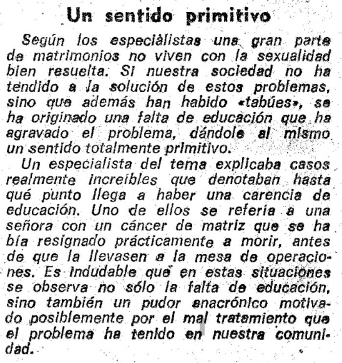 Noticia recogida en La Vanguardia; jueves 1 de marzo de 1973.