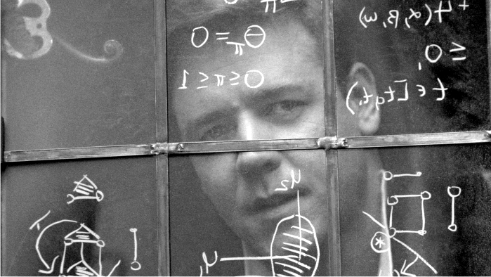 Russell Crowe como John Nash en Una mente maravillosa. Imagen: Universal Pictures.