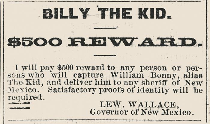 Anuncio en prensa con el que el gobernador Wallace puso precio a la cabeza de Billy el Niño, vivo o muerto.(Foto: DP)
