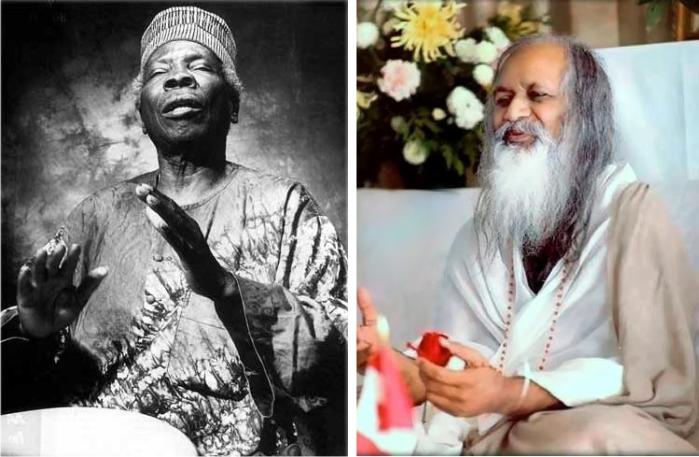 Babatunde Olatunji en una imagen de Calypso13 (CC) y Maharishi en una fotografía de Jdontfight (CC).