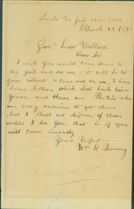 Una de las cartas que Billy envió al gobernador Wallace (foto: DP)