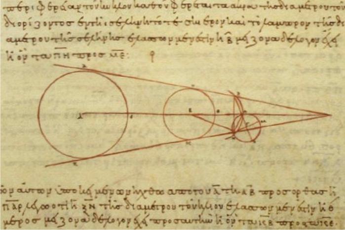 Cálculo de la distancia entre la Tierra y la Luna realizado por Aristarco (copiado en un texto griego del siglo X de nuestra era) (DP)