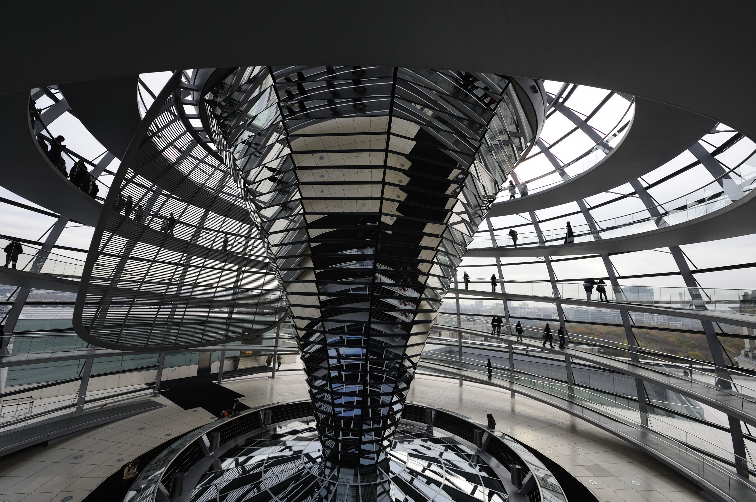 September 2009, Berlin, Germany --- Inside of the glass dome of the Reichstag, designed by architect Norman Foster. --- Image by © Frederic Soltan/Corbis