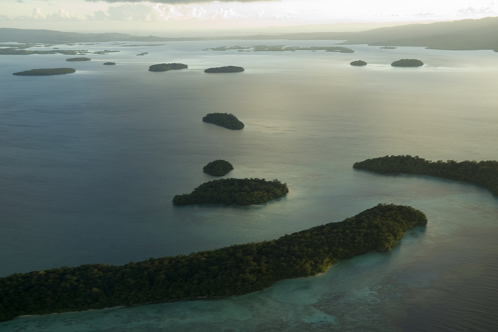 An aerial view of Marovo Lagoon in the Western Province of the Solomon Islands. Flying over the lagoon and the province's main town of Gizo, Secretary-General Ban Ki-moon was able to observe the effects deforestation, climate change and natural disasters.