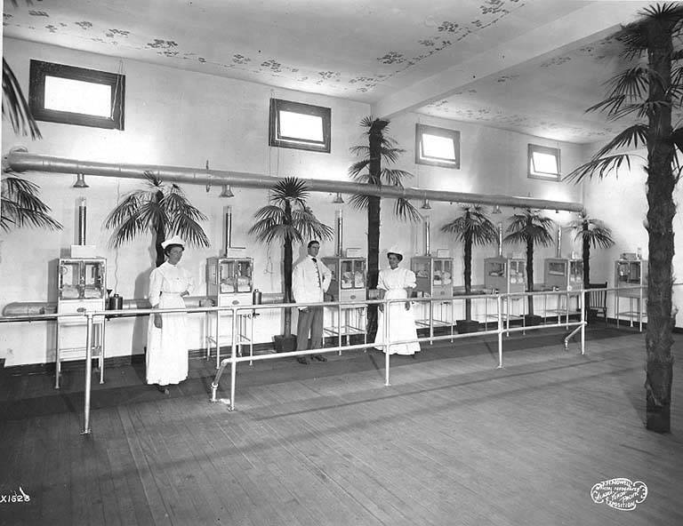 Baby Incubator exhibit interior, Alaska-Yukon-Pacific-Exposition, Seattle, Washington, 1909.