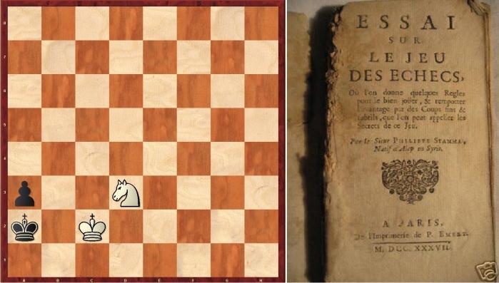 Mate de caballo y peón contrario (juegan blancas: 1Cb4+ Ra1, 2Rc1 a2, 3Cc2++) y portada del libro de Stamma. Imagen: Diego Rasskin.