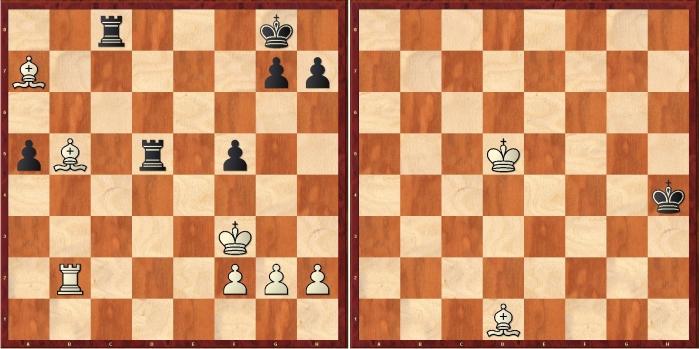 La posición de Carlsen-Nakamura 2015 antes de cometer una imprecisión (Ae3?, permitiendo a las negras jugar Tb8! y entrar en un final de torre contra pareja de alfiles). La posición final, tablas muertas. Imagen: Diego Rasskin.