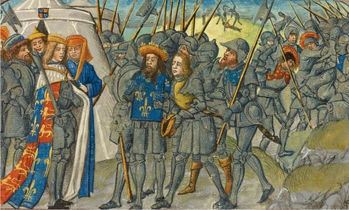 Enrique V recibe un heraldo del Rey de Francia durante la batalla de Agincourt. (DP)