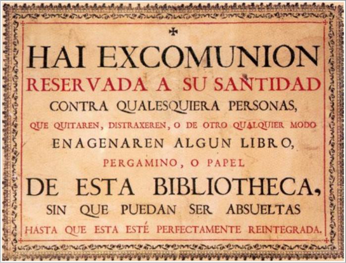 Cédula de excomunión expuesta en la Biblioteca Antigua de la Universidad de Salamanca. Imagen cortesía de la Universidad de Salamanca.