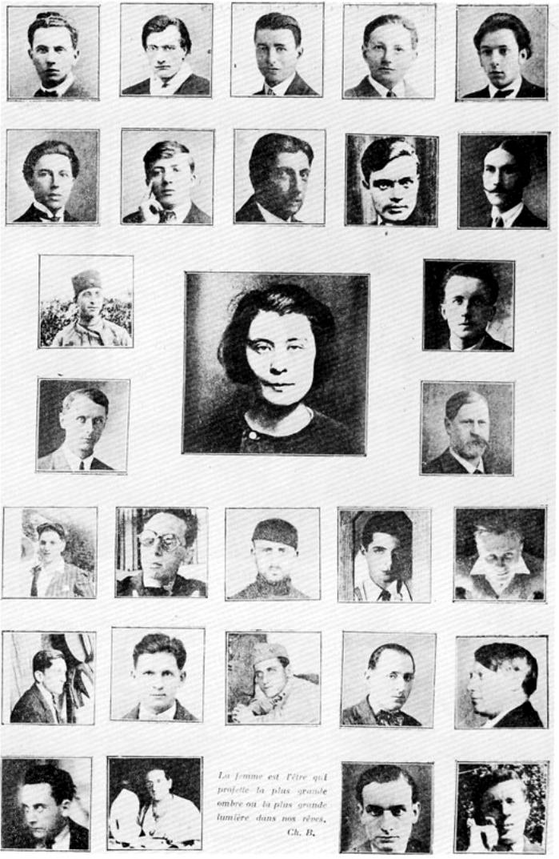 Cartel del Man Ray con los surrealistas y la asesina. Cita de Baudelaire. (DP)