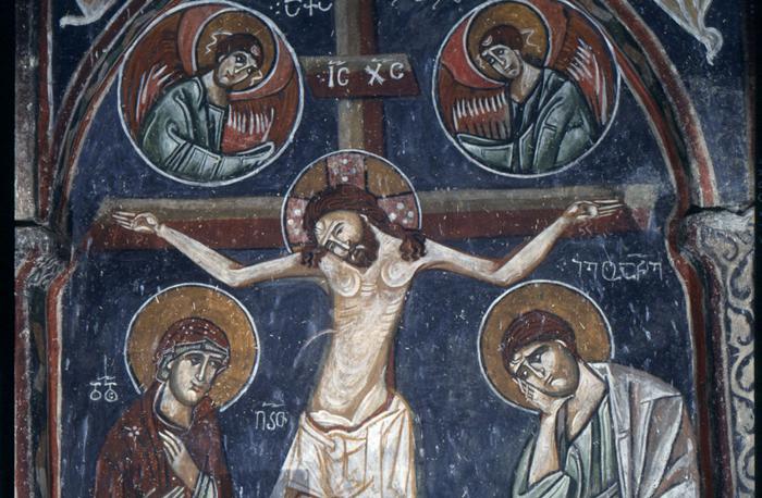 Crucifixión en una iglesia de Georgia, siglo XII.