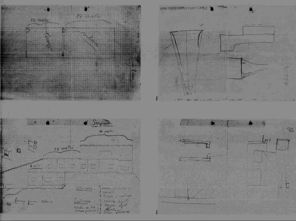 Dibujos de transición entre el proyecto original y el definitivo, obra del propio Curzio Malaparte. Imagen DP