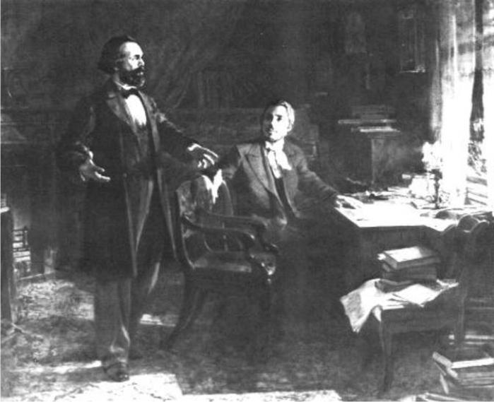 Marx y Engels redactando el Manifiesto comunista, por V. Polyakov. (DP)