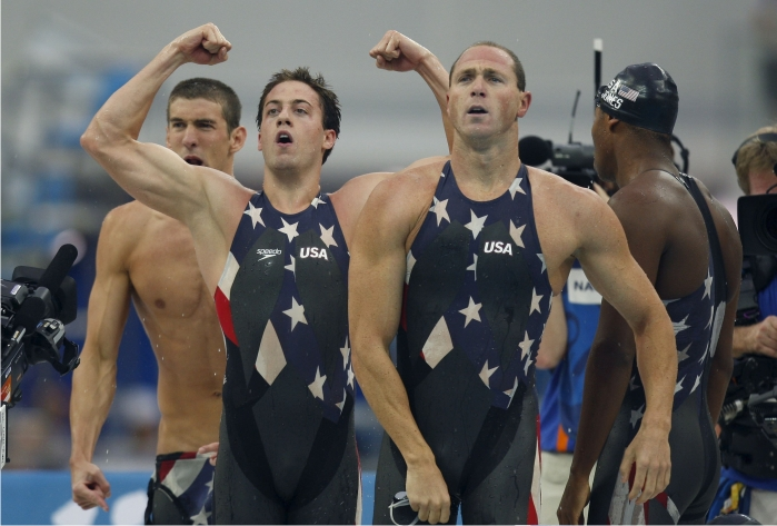 Michael Phelps, Weber-Gale, Jason Lezak y Cullen Jones. Foto: Cordon Press.