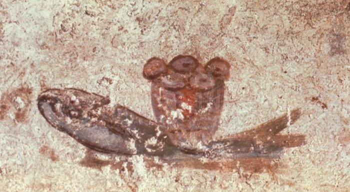 Pez eucarístico, pintado en unas catacumbas romanas durante el siglo II (imagen: DP)