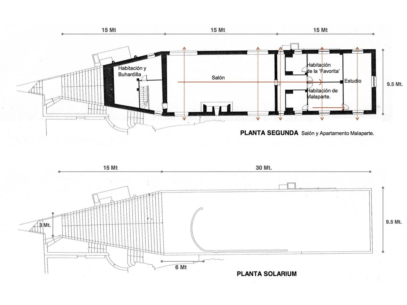 Planta Principal + Solárium.Planta Nivel 0 y 1. Imagen © Gloria Saravia Ortiz