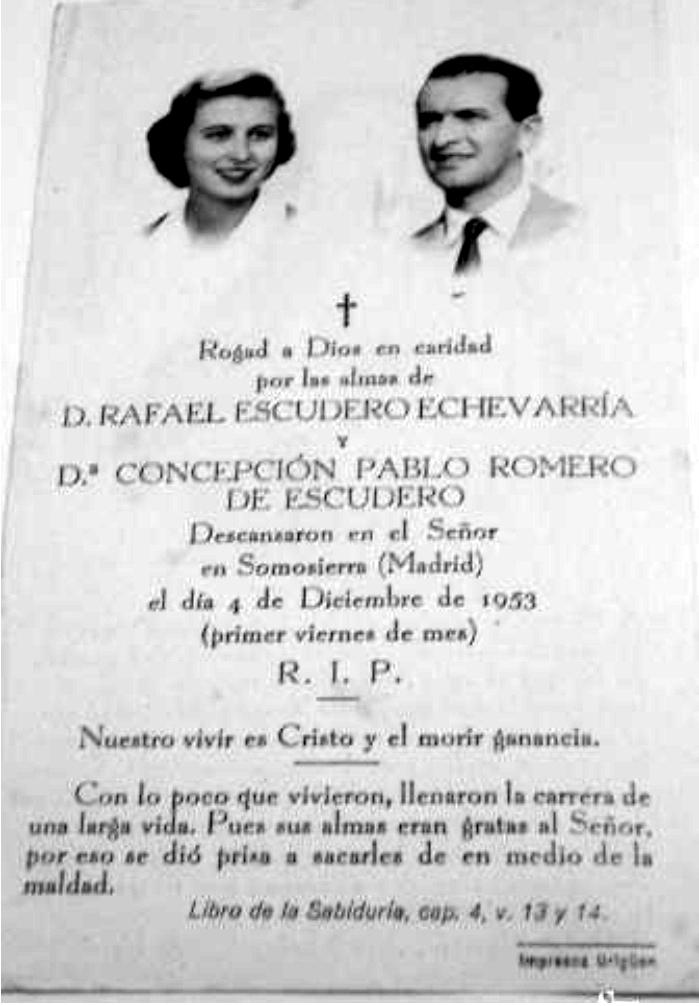 Recordatorio del funeral por el eterno descanso de Concepción de Pablo Romero y Rafael Escudero. Foto: DP.