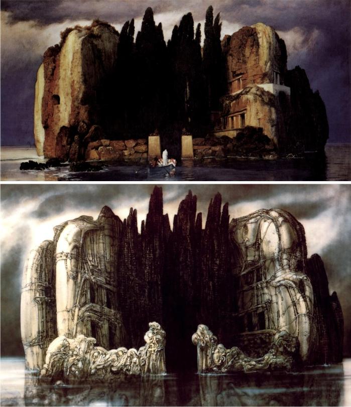 La isla de los muertos. Arnold Böcklin (arriba). H .R. Giger (abajo).
