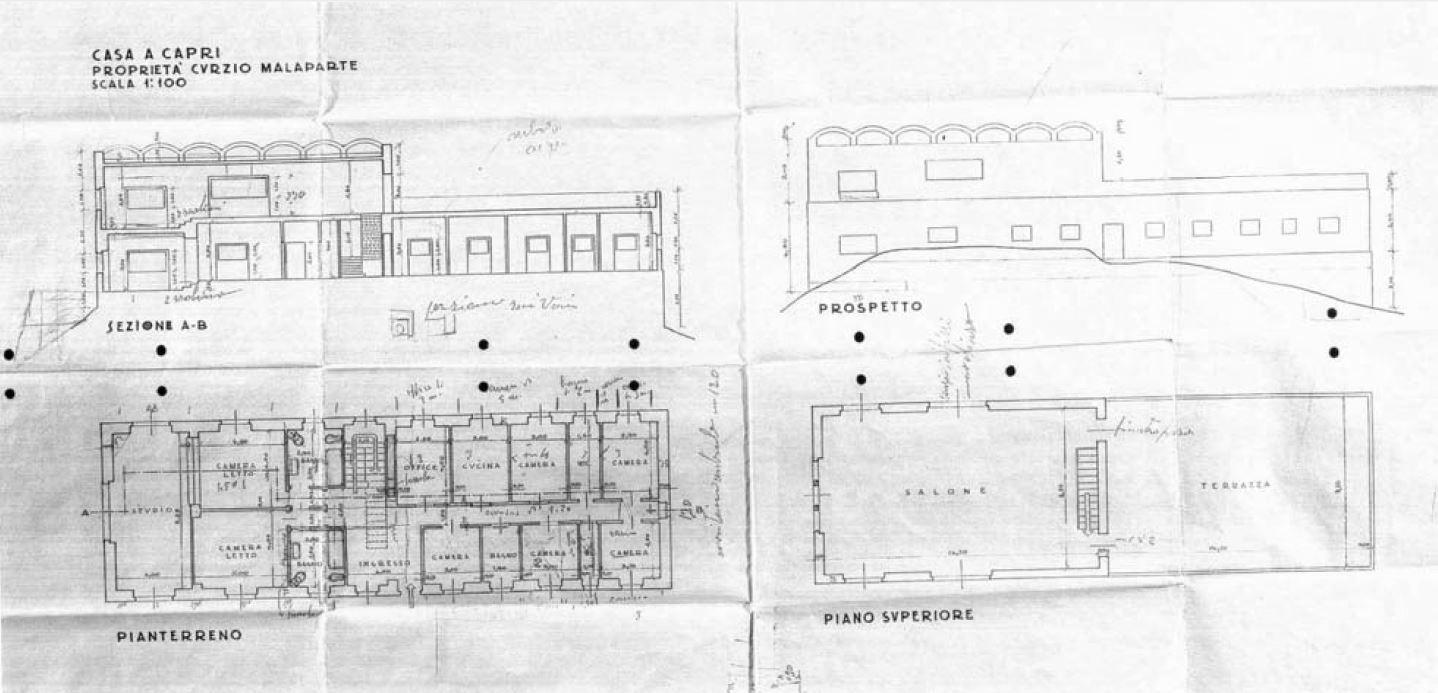Planos originales de Libera (1938) Imagen:Pettena, Gianni.Le Lettere, 1999, p. 33.